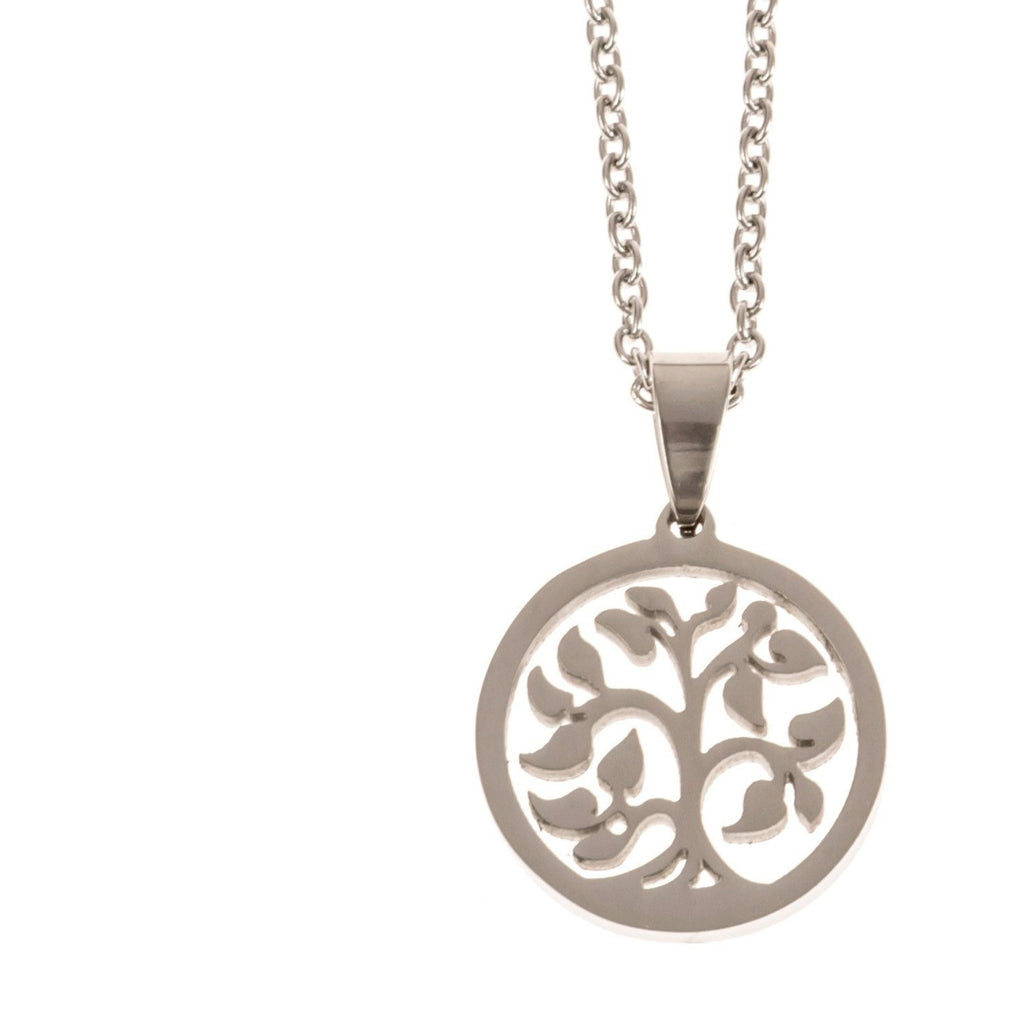 Stainless Steel Charm Necklace Tree of Life - Beads and Dangles