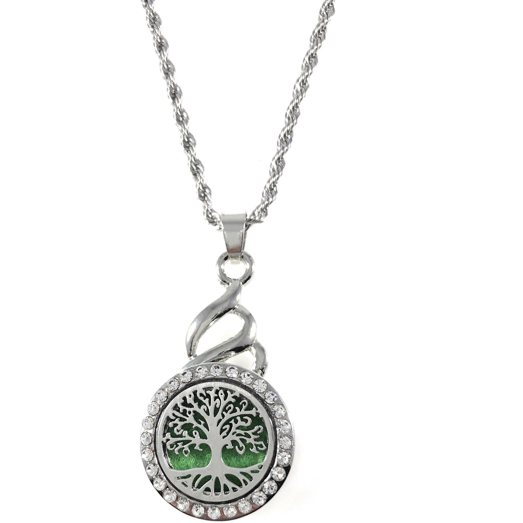 "Snap Charm Pendant Aromatherapy Diffuser Locket 22mm Tree Includes 18"" Chain - Beads and Dangles"