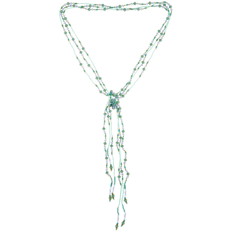 "Necklace Handcrafted Glass and Crystal Beads Aqua Three Strands of Rope 55"" - Beads and Dangles"