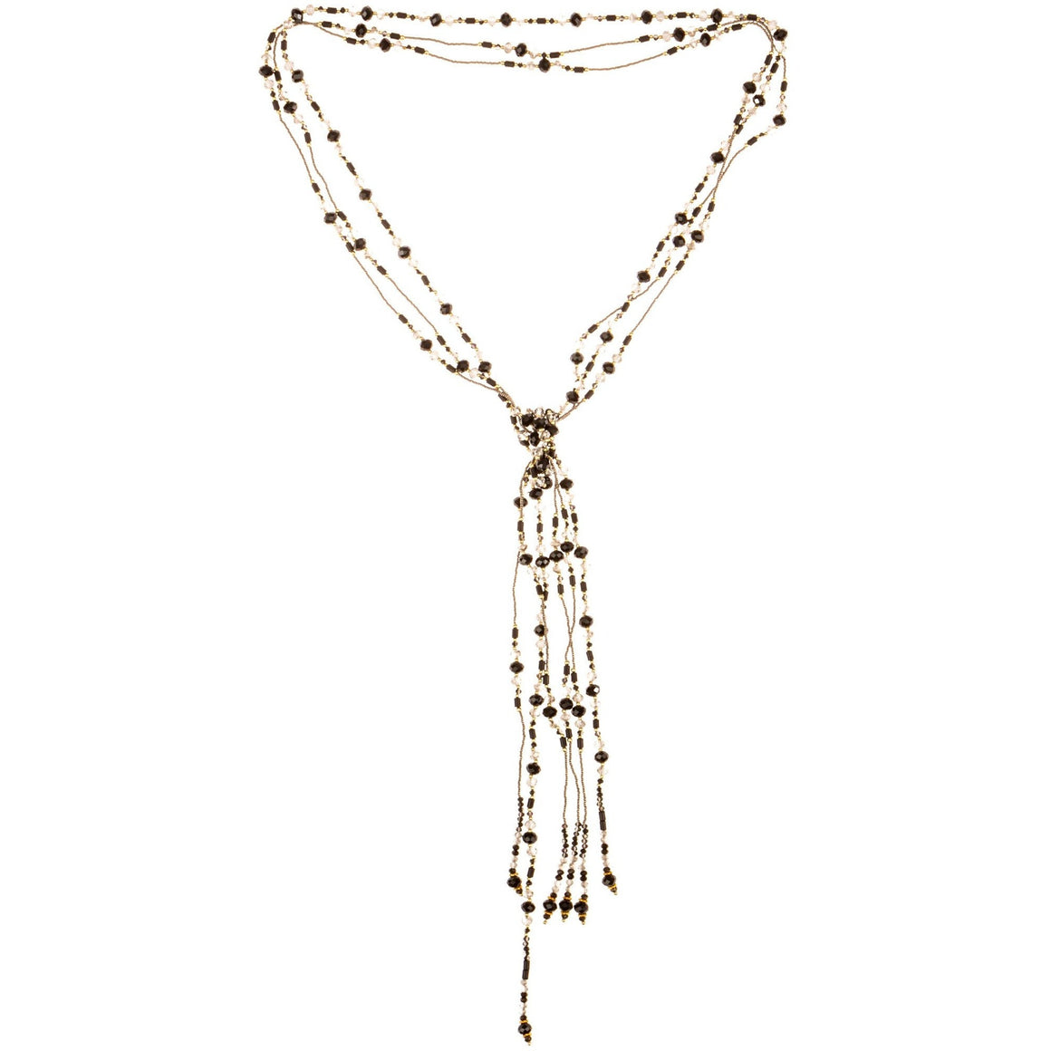 "Necklace Handcrafted Glass and Crystal Beads Three Strands of Rope Black 55"" long - Beads and Dangles"