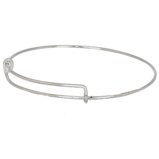 Stainless Steel Wire Bangle - Beads and Dangles