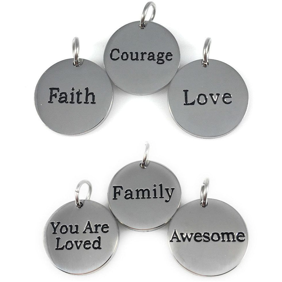 "Stainless Steel Charms Set of Six 3/4"" - Beads and Dangles"