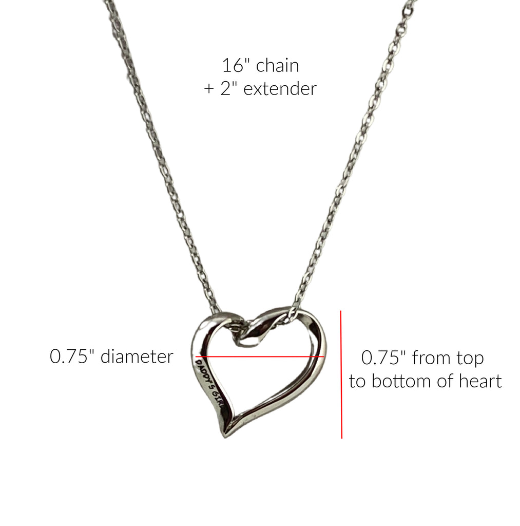 "Daddy's Girl Stainless Steel Heart Charm Necklace 3/4"" Diameter"