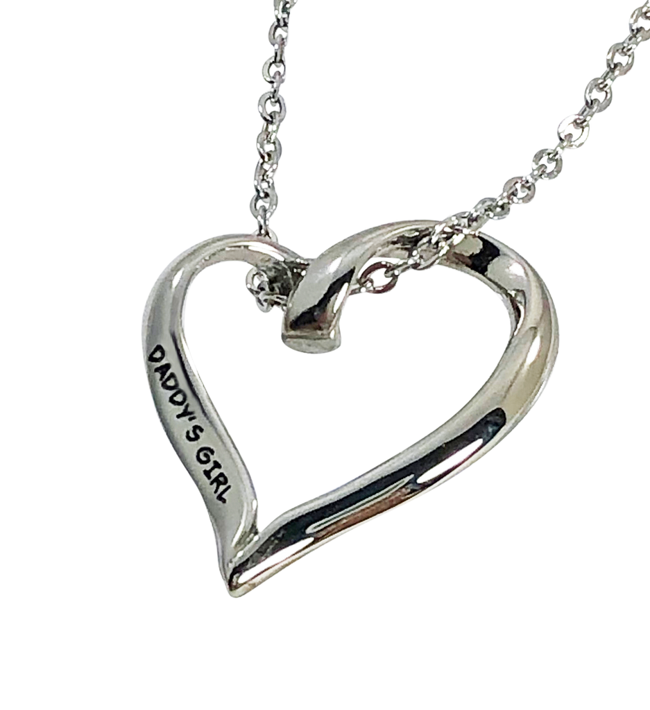 "Stainless Steel Heart Charm Necklace Daddy's Girl 20mm 3/4"" Diameter - Beads and Dangles"