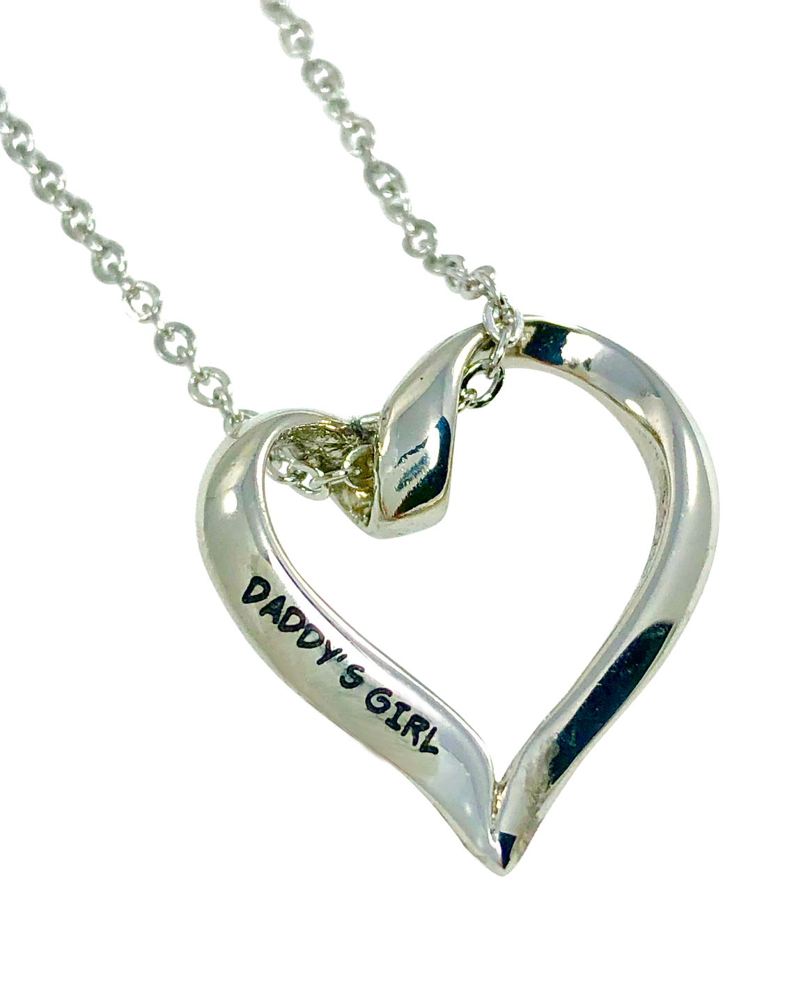 "Stainless Steel Heart Charm Necklace Daddy's Girl 20mm 3/4"" Diameter"