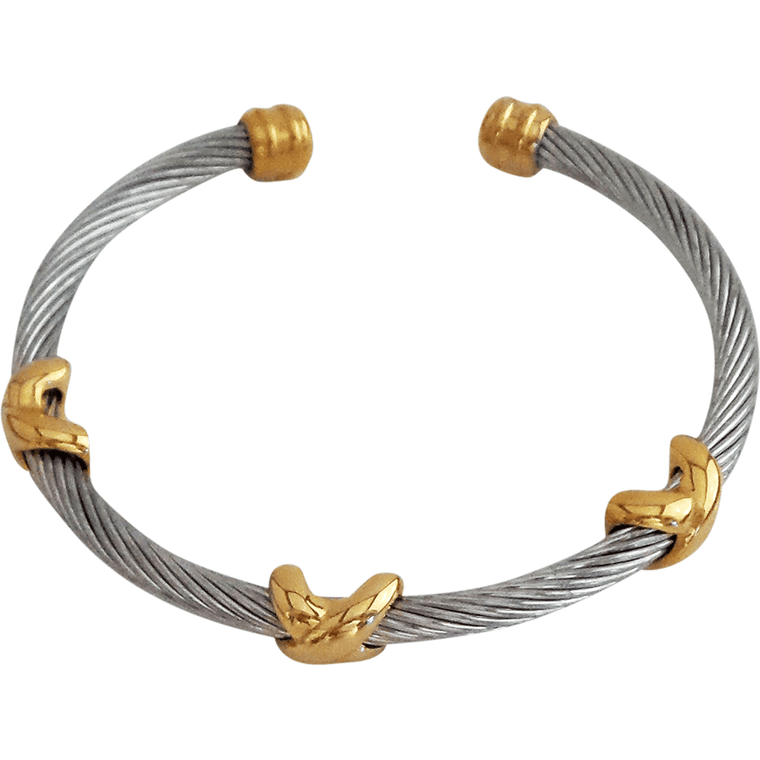 "Stainless Steel X Bracelet Gold Plated X's, 2.5"" diameter - Beads and Dangles"