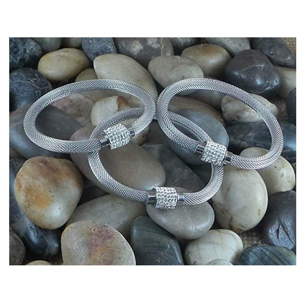 Bangle Bracelet Stainless Steel Mesh Clear Crystal Magnetic Closure