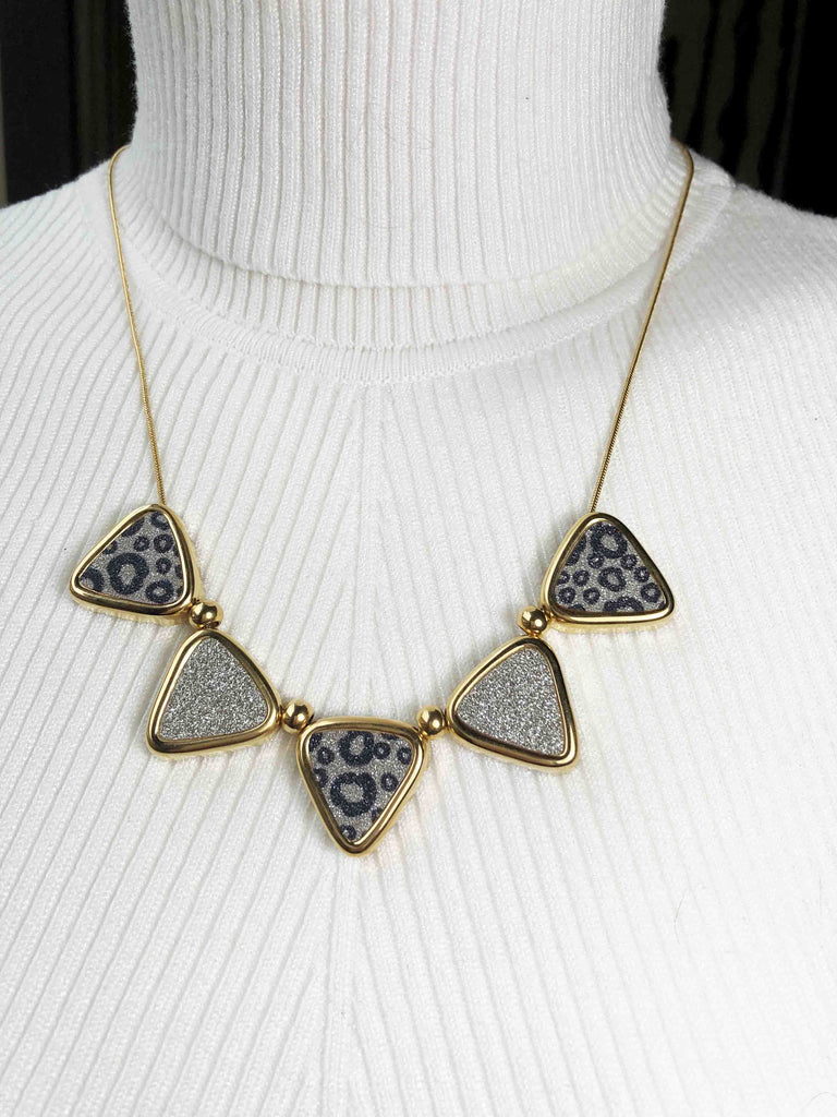 "Necklace Stainless Steel Multi-tone Triangles 20"" with Matching Earrings - Beads and Dangles"