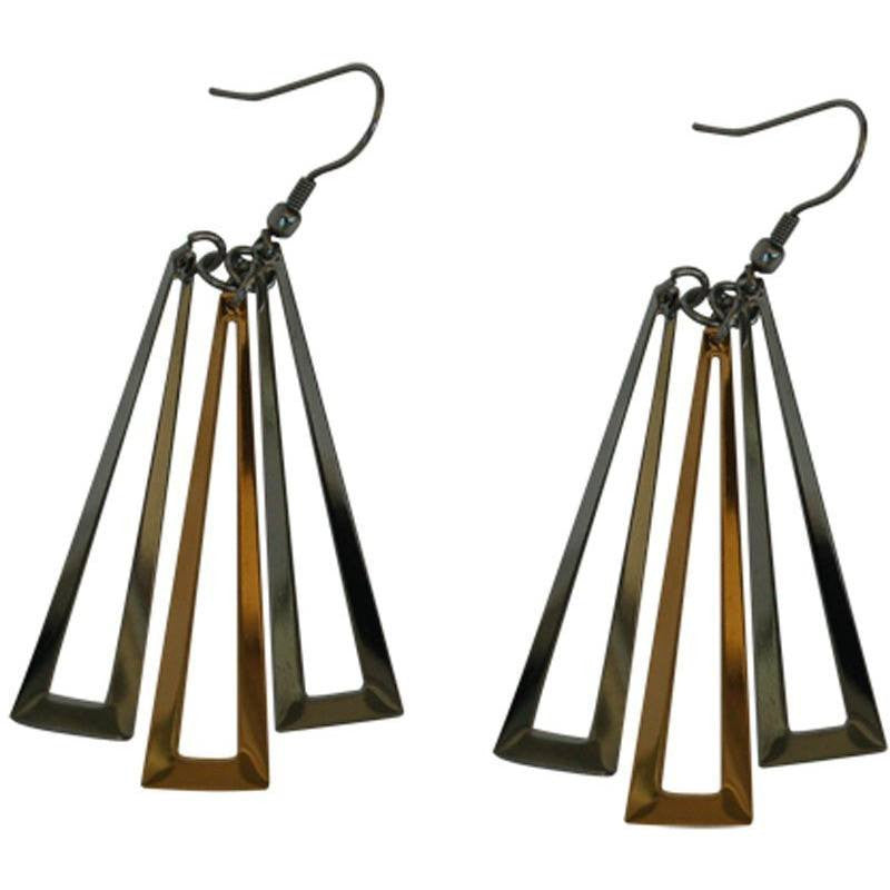 Stainless Steel Earrings Multi-tone Triangle Drop - Beads and Dangles