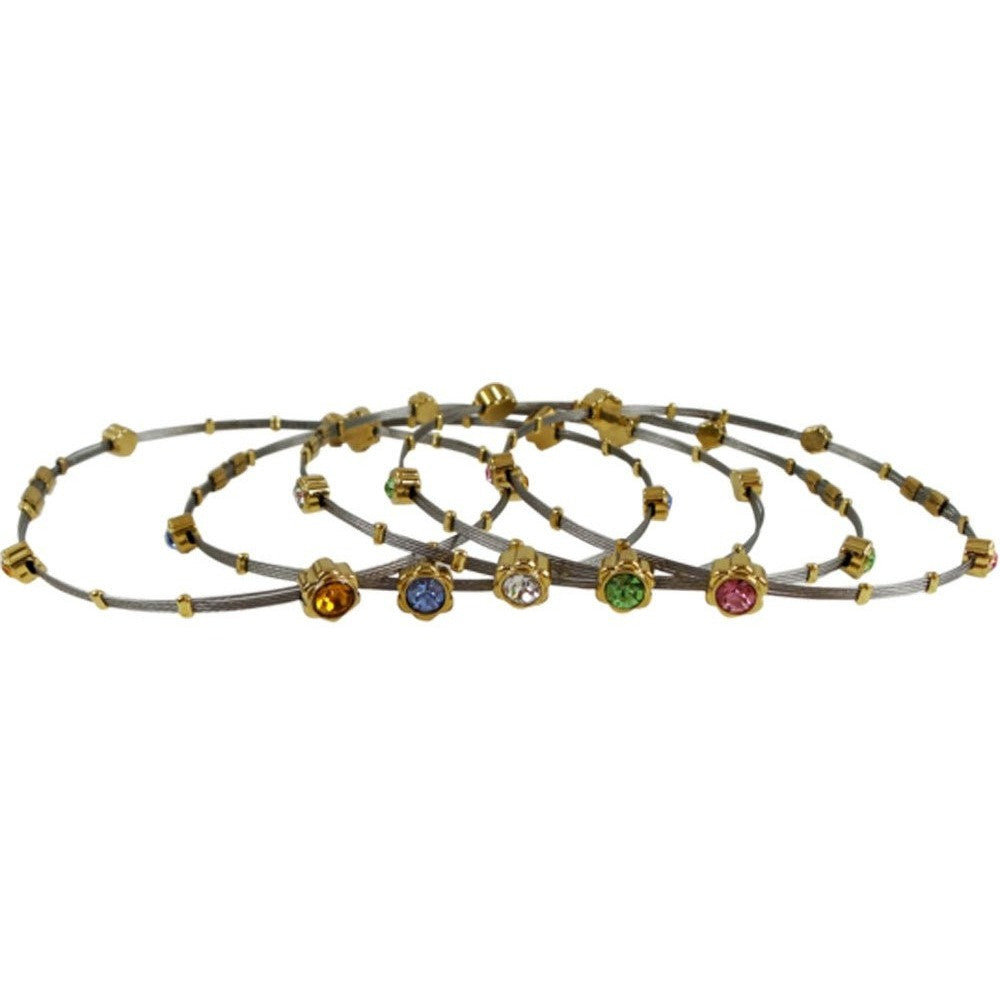 Bangle Bracelet for Petite Wrists Flexible Stainless Steel (Set of All 5 Colors) - Beads and Dangles