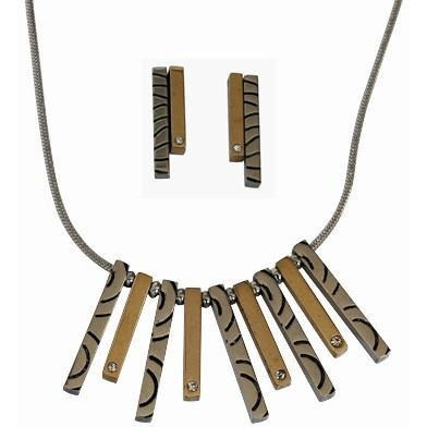 "Necklace Stainless Steel Multi-tone Metal Bars 20"" with Matching Earrings - Beads and Dangles"