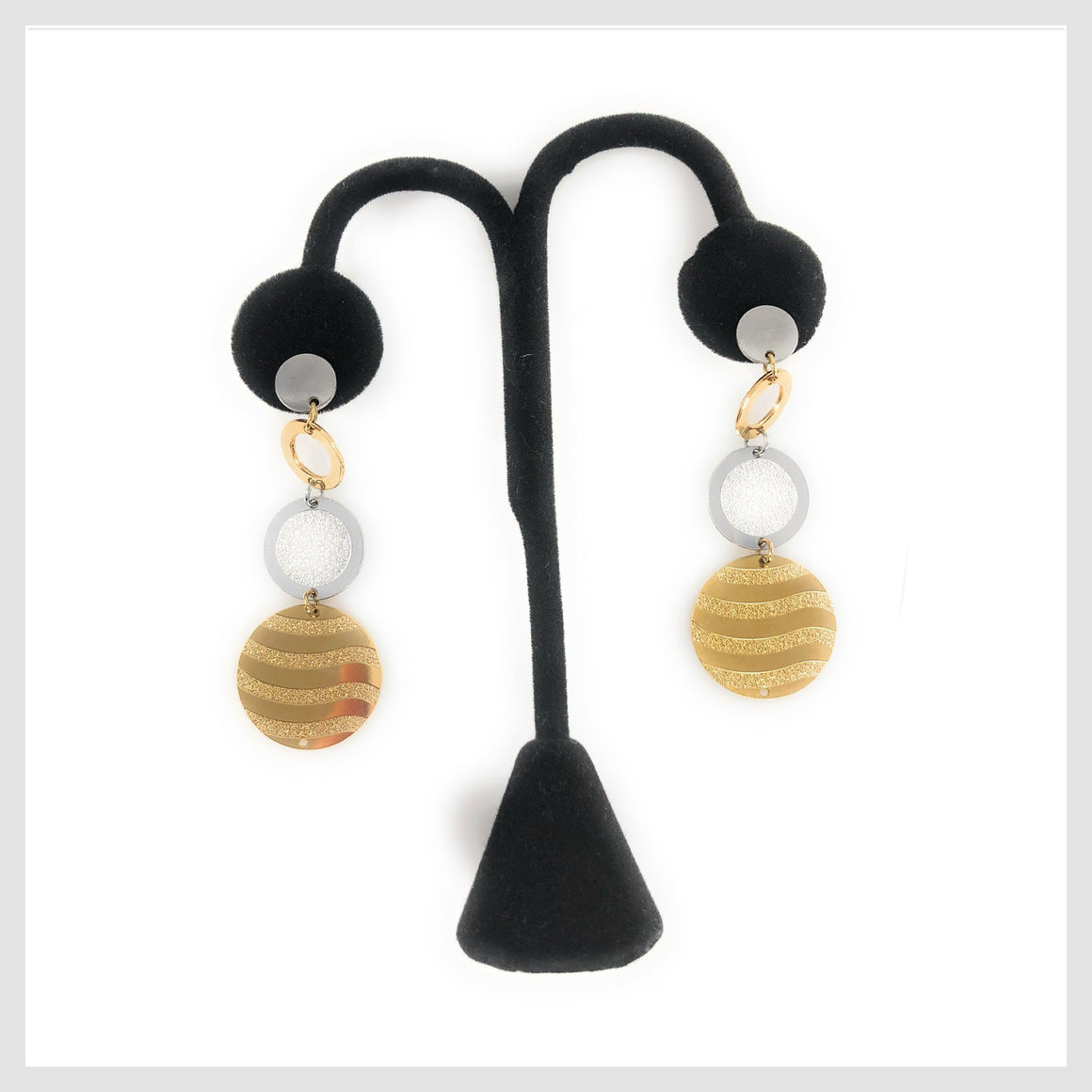 Stainless Steel Earrings Multi-tone Circle Drop - Beads and Dangles
