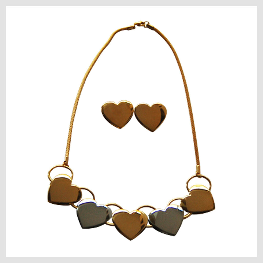 "Necklace Stainless Steel Multi-tone Hearts 18"" with Matching Earrings - Beads and Dangles"