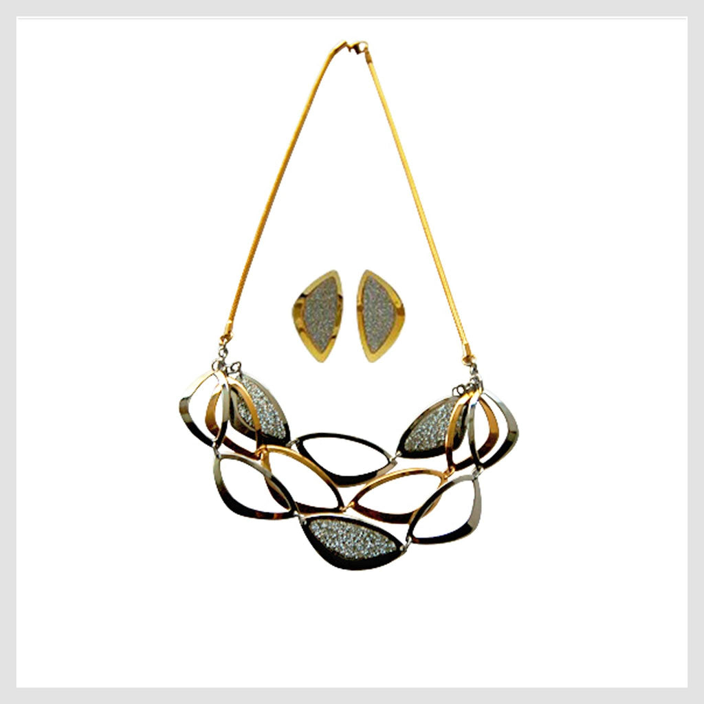 "Necklace Stainless Steel Multi-tone  Ovals 20"" with Matching Earrings - Beads and Dangles"