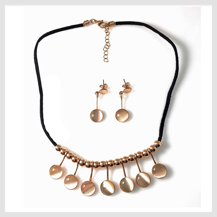 "Necklace Rose Gold Tone 16"" Matching Earrings"