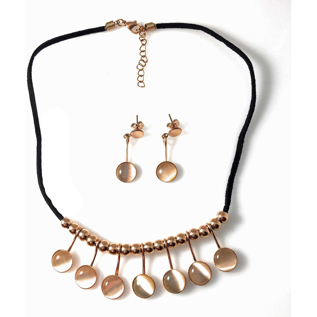 "Necklace Stainless Steel Rose Gold Tone 16"" with Matching Earrings - Beads and Dangles"