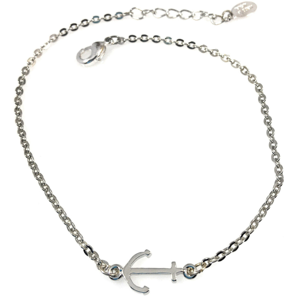 Ankle Bracelet with Anchor and Made in USA Tag - Beads and Dangles