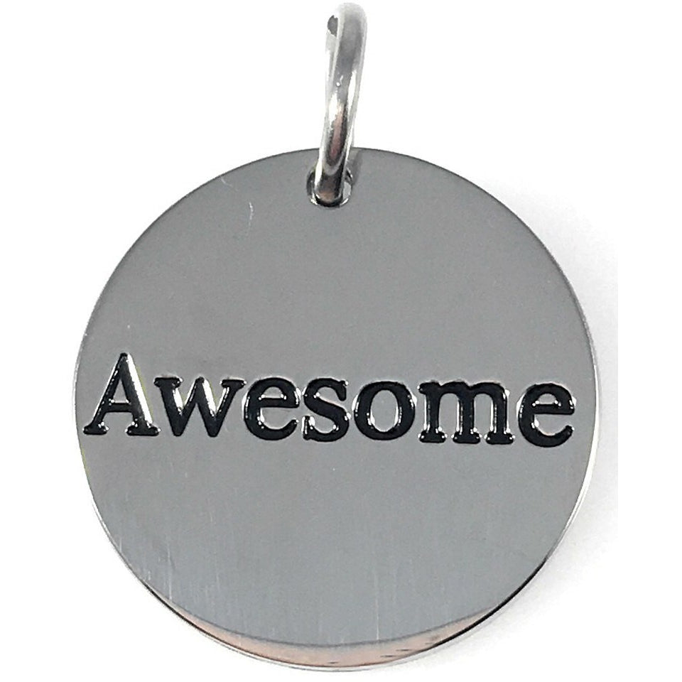"Awesome Stainless Steel Word Charm 3/4"" Diameter - Beads and Dangles"