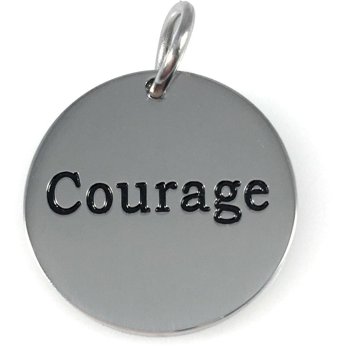 "Courage Stainless Steel Word Charm 3/4"" Diameter - Beads and Dangles"