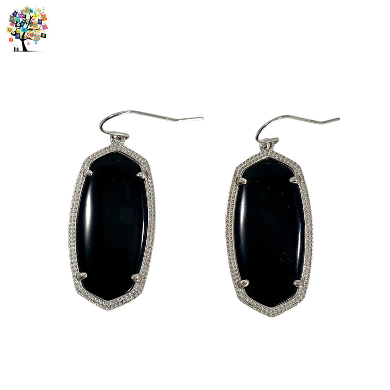 Drop Earrings Black Agate in 925 Sterling Silver