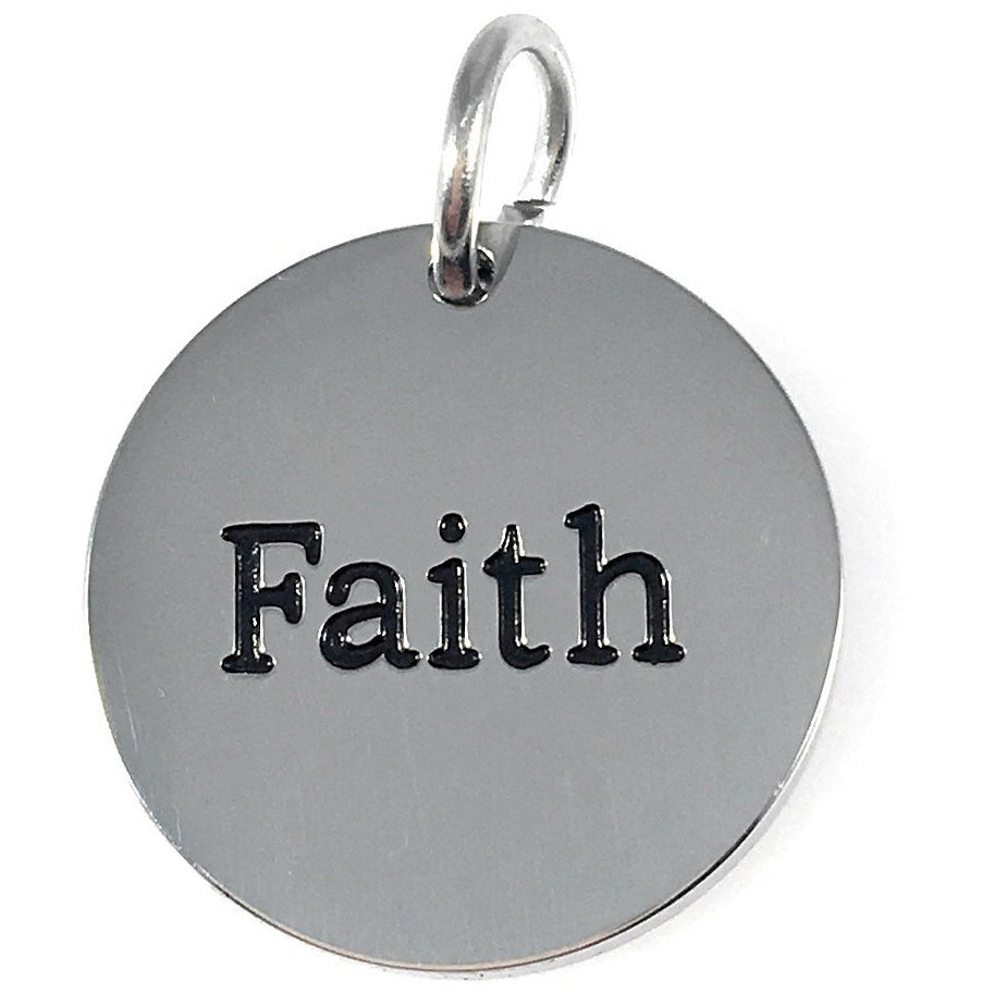 "Faith Stainless Steel Word Charm 3/4"" - Beads and Dangles"