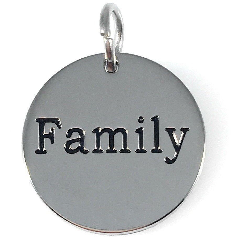 "Family Stainless Steel Word Charm 3/4"" - Beads and Dangles"
