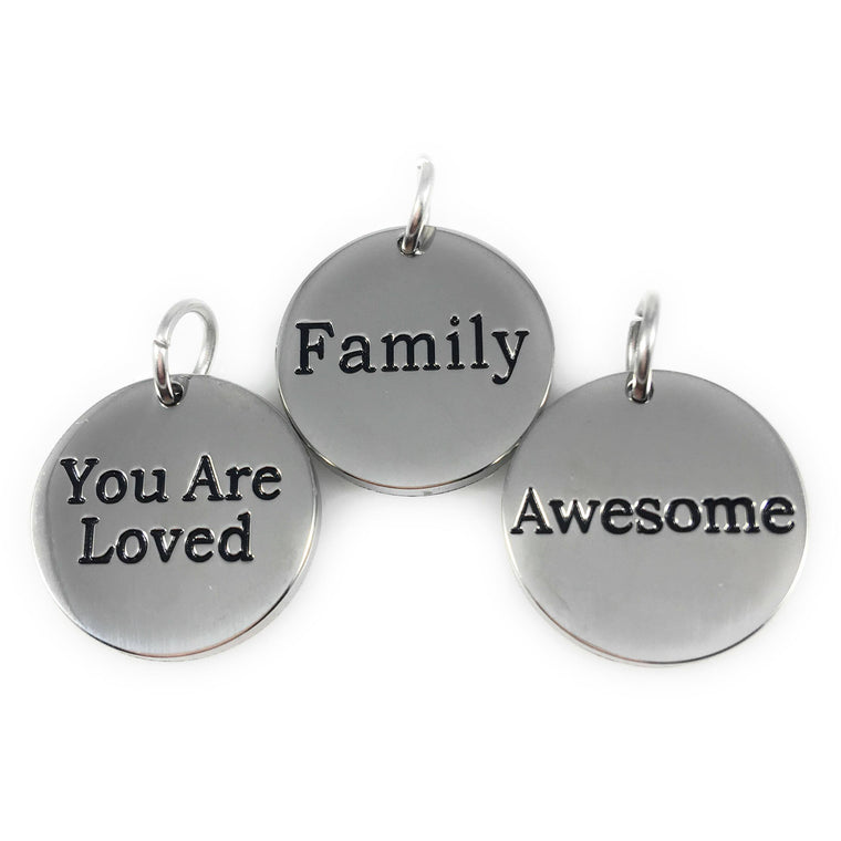 "Set of 3 Stainless Steel Word Charms 3/4"" Diameter - Beads and Dangles"