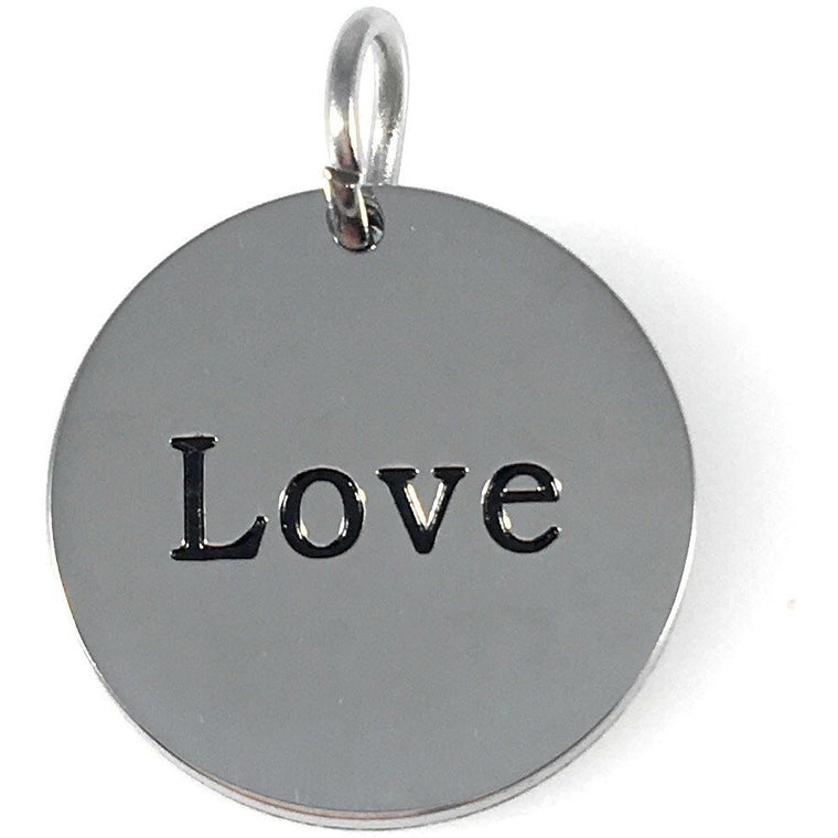 "Love Stainless Steel Word Charm 3/4"" Diameter - Beads and Dangles"