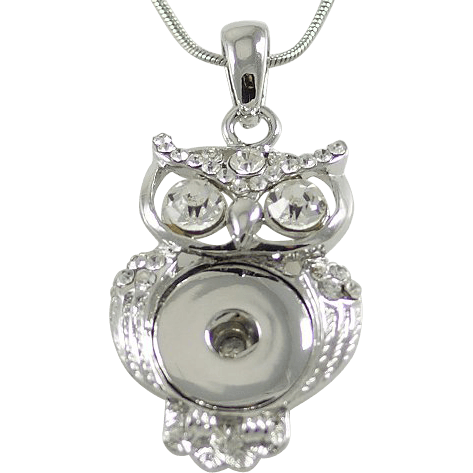 "Chunk Snap Pendant Owl and Stainless Steel Necklace 46 cm, 18"" - Beads and Dangles"