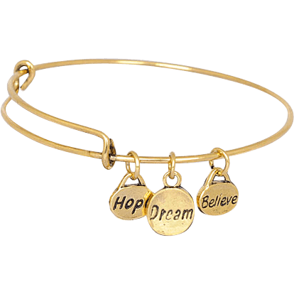 Hope Dream Believe Gold Plated Stainless Steel Expandable Bangle - Beads and Dangles