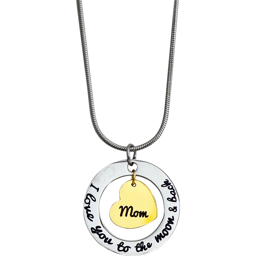 Stainless Steel Charm Necklace I Love You to the Moon and Back-Mom Gold Heart - Beads and Dangles