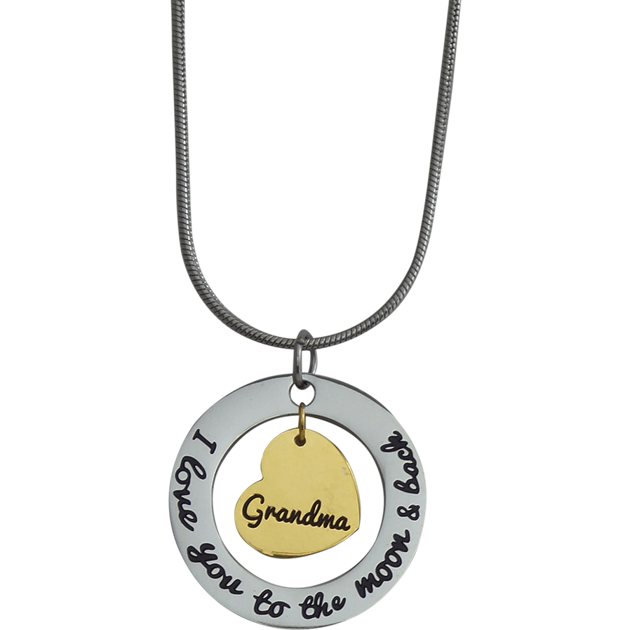 Stainless Steel Charm Necklace I Love You to the Moon and Back-Grandma Gold Heart - Beads and Dangles
