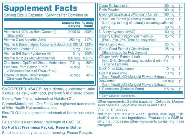Clinical Strength Vision Support Supplement Facts