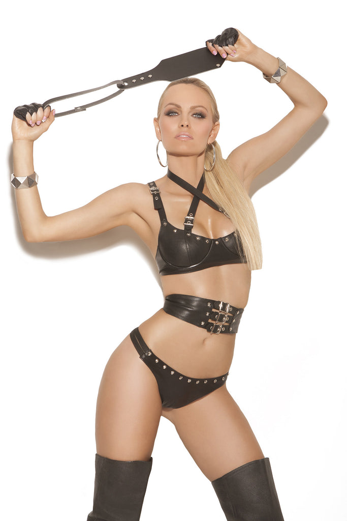 Leather Bra with Criss Cross Straps and Panty - Queen Size