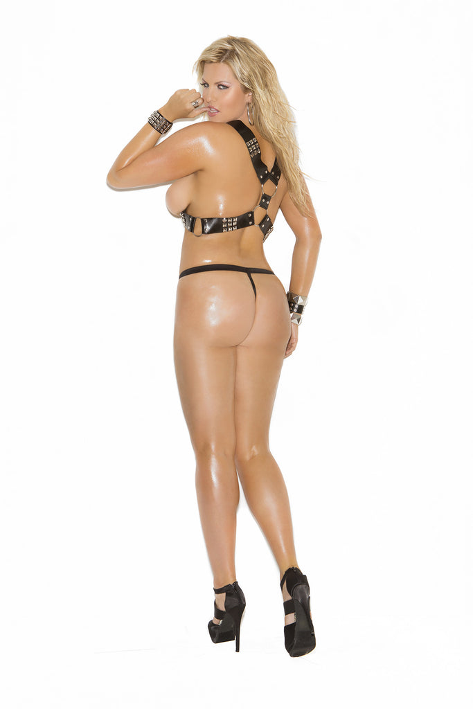 Harness and G-String with Nail Heads - Queen Size
