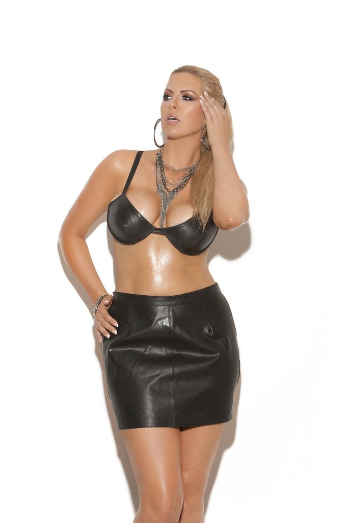 Leather Bra Top - Queen Size
