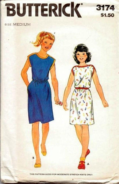 Butterick-3174-Girls-Sleeveless-Dress-Kimono-Sleeves-Vintage-1980_s-Sewing-Pattern-Butterick vintagestitching.com