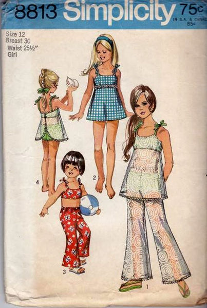 Simplicity-8813-Girls-Bathing-Suit-Bell-Bottom-Pants-Vintage-Pattern-Swim-Simplicity vintagestitching.com