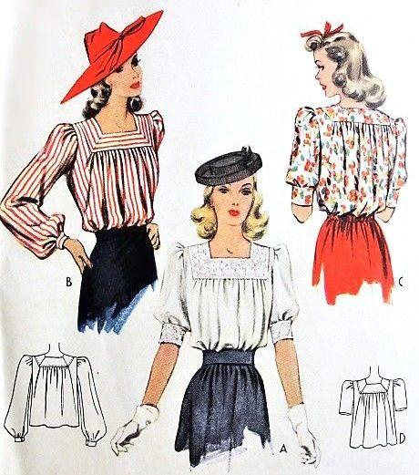 vintage blouse patterns at vintagestitching.com