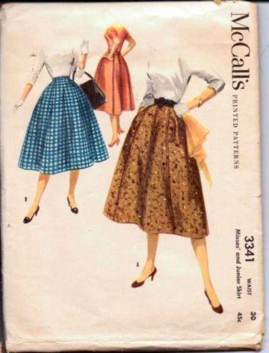 1950's Full Rockabilly Skirt McCall's 3341 Vintage Sewing Pattern Gored Swing Pocket Flaps - VintageStitching - Vintage Sewing Patterns