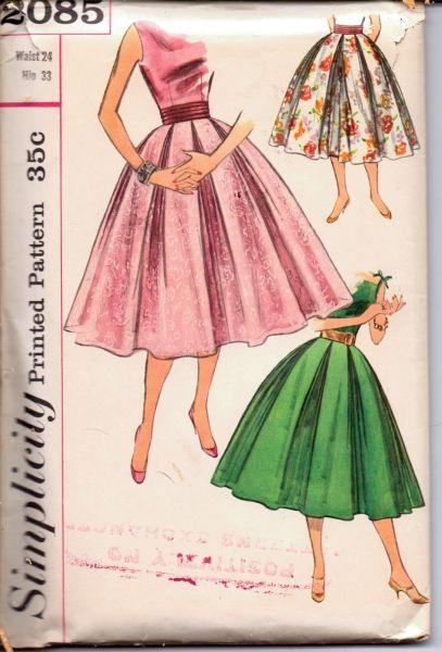 1950's Graceful Swing Skirt Double Cummerbund Simplicity 2085 Vintage Sewing Pattern - VintageStitching - Vintage Sewing Patterns
