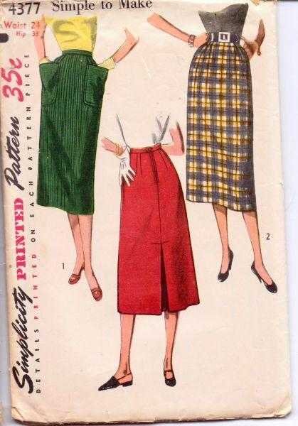 1950's Ladies Chic Slim Skirt Simplicity 4377 Vintage Sewing Pattern with Kick Back Inverted Pleat - VintageStitching - Vintage Sewing Patterns