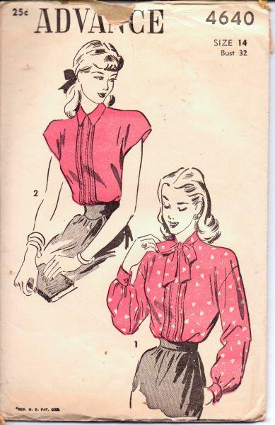 1950's Stylish Blouse with Tie Collar Advance 4640 Vintage Sewing Pattern Unprinted Cap Sleeves - VintageStitching - Vintage Sewing Patterns