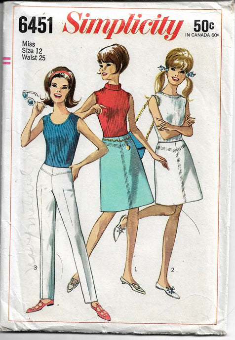 Simplicity 6451 Ladies Hip Hugger Pants Skirt Vintage Sewing Pattern 1960s - VintageStitching - Vintage Sewing Patterns