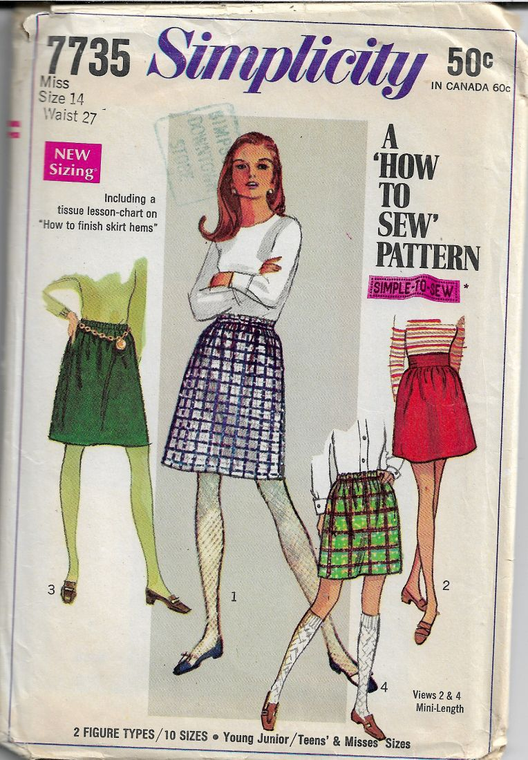 Simplicity 7735 Vintage Sewing Pattern 1960s Ladies Mini Skirt - VintageStitching - Vintage Sewing Patterns