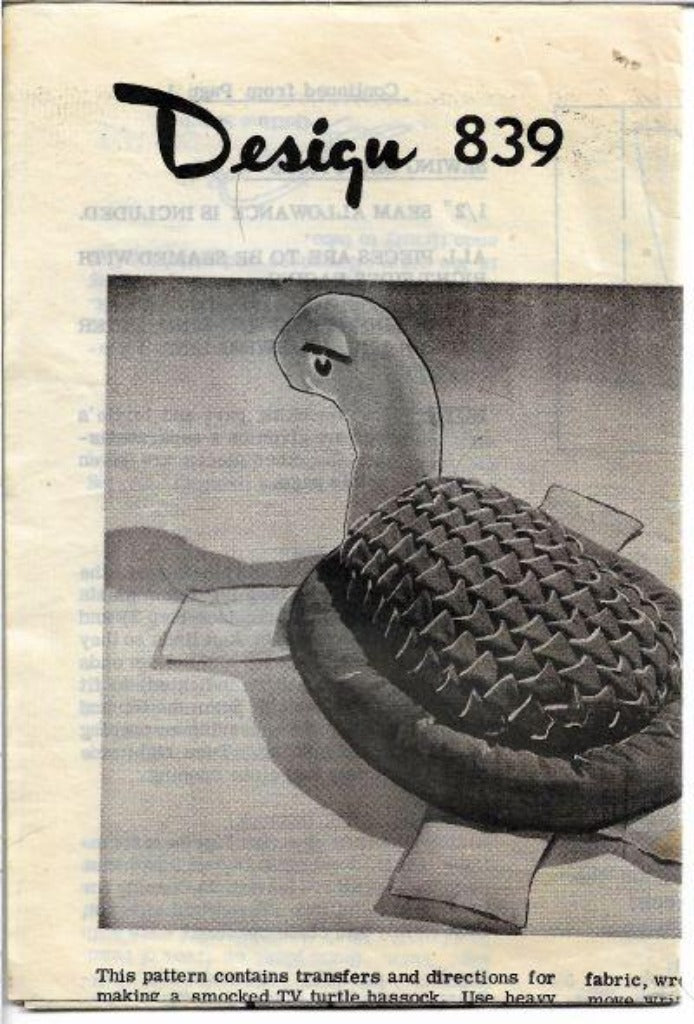 Mail Order 839 Turtle Hassock Foot Stool Vintage Craft Pattern 1960s - VintageStitching - Vintage Sewing Patterns