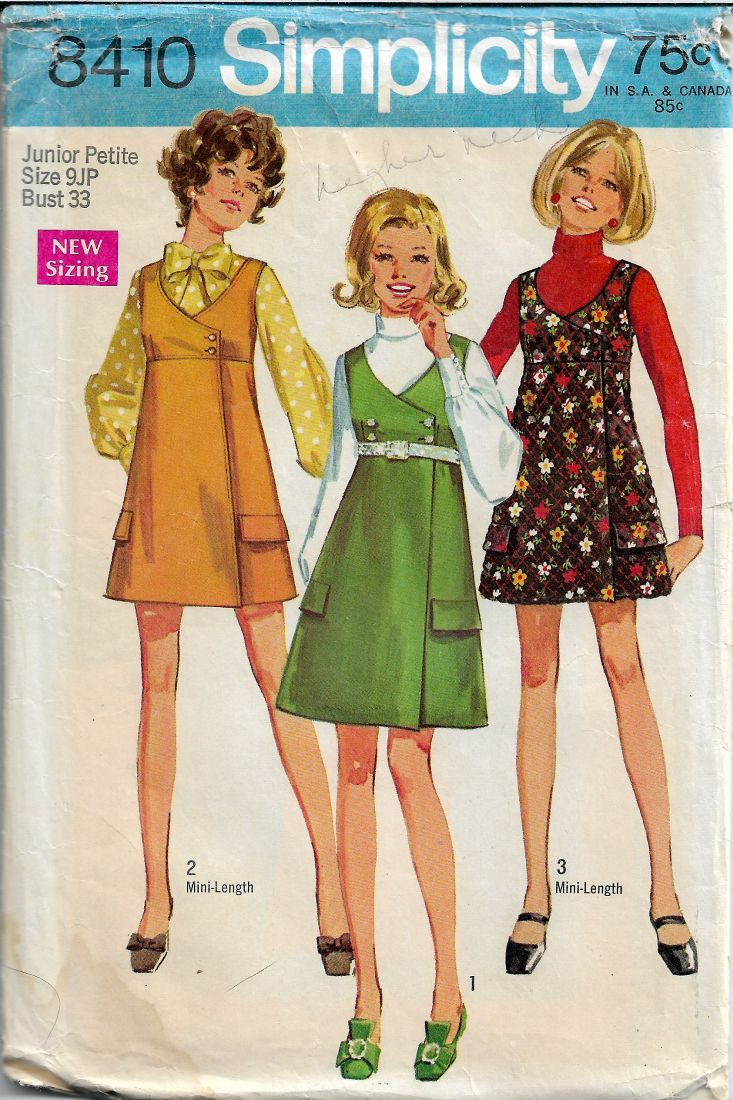 Simplicity 8410 Junior Petite Mini Jumper Dress Vintage Sewing Pattern 1960s - VintageStitching - Vintage Sewing Patterns