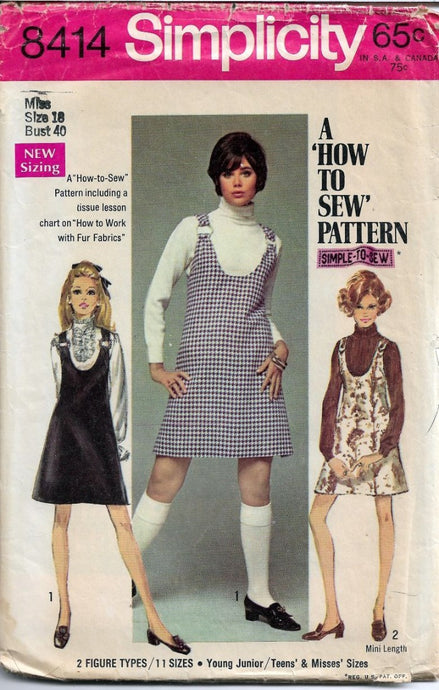 Simplicity 8414 Ladies Mini Jumper Dress Vintage Sewing Pattern 1960s - VintageStitching - Vintage Sewing Patterns