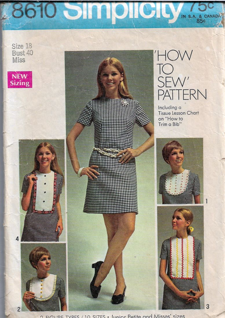 Simplicity 8610 Ladies Dress Detachable Bib Designs Vintage Sewing Pattern 1960s - VintageStitching - Vintage Sewing Patterns