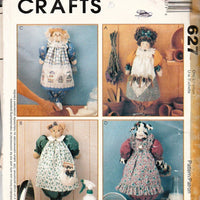 McCall's Crafts 627 / 9120 Grocery Bag Holder Doll Cat Bunny Rabbit Cow Sewing Pattern - VintageStitching - Vintage Sewing Patterns
